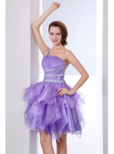 Short Lavender Ruffled Cocktail Dresses with Cross-Straps Back