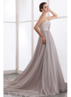 Silver Gray Long Plus Size Evening Dress with Train