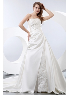 Simple A-line Satin Strapless Wedding Dress for Older Bride