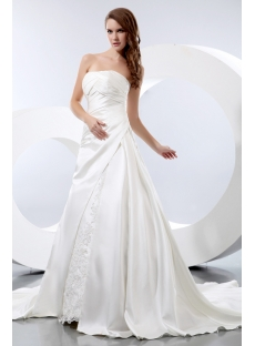 Simple a line satin strapless wedding dress for older for Simple wedding dresses for small wedding