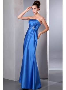 Simple Blue Empire Waist Sheath Satin Plus Size Evening Dress
