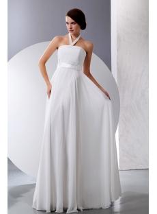 Simple Halter Summer Chiffon Maternity Wedding Dresses