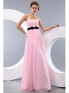 Simple Pink and Black Long Chiffon Bow Beach Bridesmaid Dresses