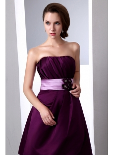 Simple Short Grape Satin Bridesmaid Dresses under 100