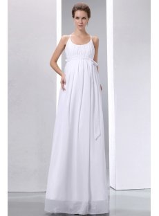 Simple Straps Ivory Chiffon Pregnant Bridal Gown