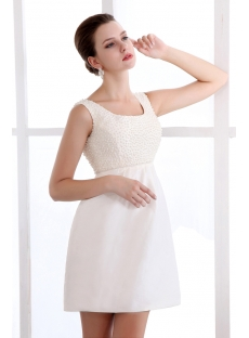 Simple Summer Square Short Bridal Gowns with Pearls