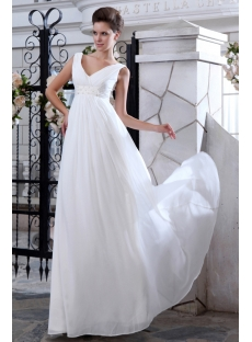 Simple V-neckline Chiffon Empire Maternity Wedding Dresses