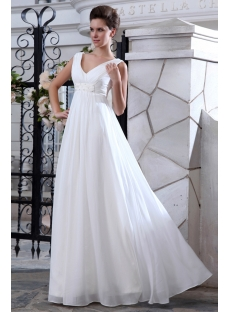 e23065f81ae Simple V-neckline Chiffon Empire Maternity Wedding Dresses 1st-dress.com