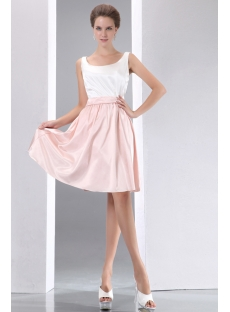 Simple White and Pink Short Homecoming Dress