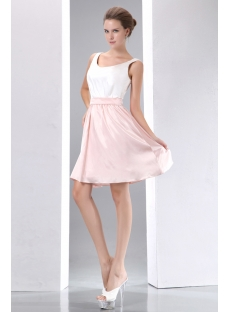 Simple White and Pink Short Homecoming Dress:1st-dress.com