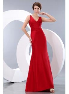 Simple Wine Red Long Taffeta Sheath Graduation Dress with V-neckline