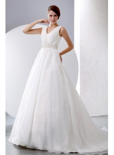 Sleeveless V-neckline Organza Winter Wedding Dresses Ball Gown 2014
