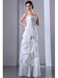 Spaghetti Straps Embroidery Cheap Summer Wedding Dress with Pick up