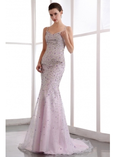 Spaghetti Straps Luxury Beaded Sheath Celebrity Party Dress with Train