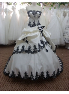Special Black Beaded Strapless Wedding Dress with Lace up
