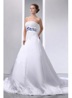 Special Elegant Ivory and Royal Blue Satin A-line Wedding Dress