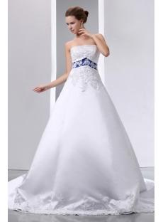 Special Elegant Ivory And Royal Blue Satin A Line Wedding Dress1st Dress