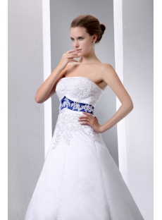 Special Elegant Ivory And Royal Blue Satin A Line Wedding