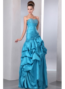 Special Strapless Sweetheart Long Cheap Quinceanera Dress with Pick up Skirt