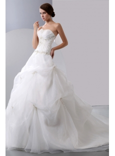 Strapless Embroidery Organza Wedding Gown with Draped Bodice and Pick up Skirt