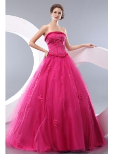 Strapless Fuchsia Long fiesta de quince años Gown Cheap