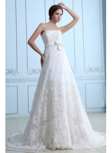 Strapless Lace over Ivory Satin Bridal Gown with Empire