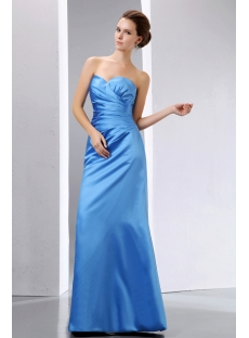 Strapless Long Satin Blue Graduation Dress Sweetheart