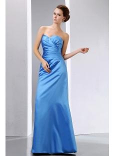 Strapless Long Satin Blue Graduation Dress Sweetheart