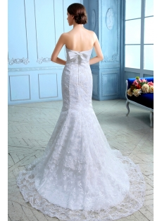 Strapless Sheath Ivory Lace Wedding Dress with Bow