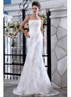 Strapless Simple Lace Wedding Dress with Sweep Train