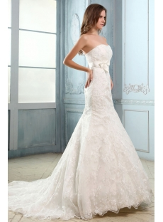 Strapless Sweetheart Lace Mermaid Wedding Dresses Vintage with Bow