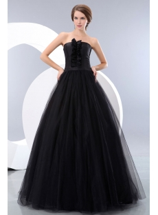 Strapless Tulle Black Quinceanera Dress for Full Figure Cheap