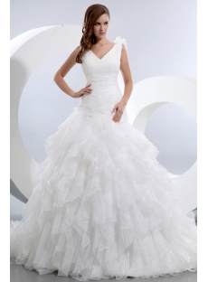 Stunning Sleeveless V-neck Ruffles Organza Bridal Gowns