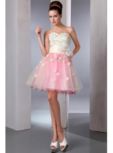 Sweet Colorful Mini Sweet 15 Dress with Flowers