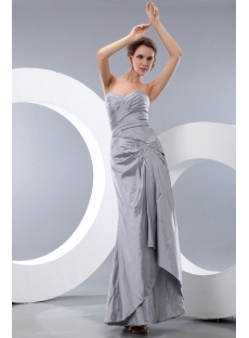 Sweet Sheath Silver Taffeta Ankle Length Bridesmaid Dress