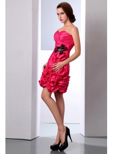 Sweetheart Taffeta Fuchsia Short Ruffled Quinceanera Dresses