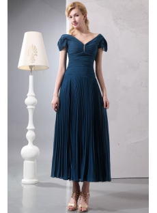 Teal Blue Romantic Tea Length V-neckline Formal Evening Dress with Cap Sleeves