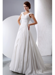 Terrific A-line Taffeta Modest Wedding Gown with Cap Sleeves