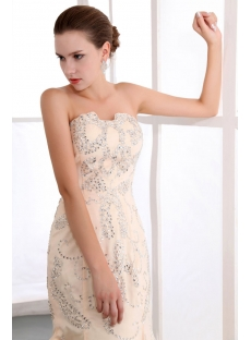 Terrific Champagne Sequin Sheath Engagement Dresses