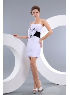 Terrific White and Black Organza Mini Short Prom Gowns