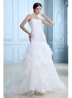 Trumpet/mermaid Strapless Pick up Court Train Organza Wedding Dress