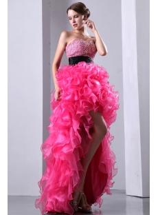 Unique Hot Pink Sweetheart High-low Hem fête des quinze ans