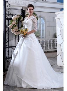 Vintage Lace Long Sleeve Wedding Dress with Keyhole Back
