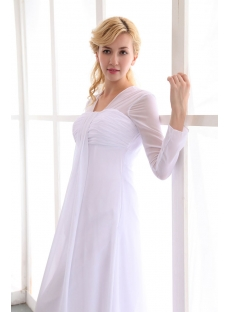 Vintage White Long Sleeves Chiffon Empire Wedding Dress for Spring