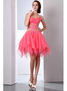 Watermelon Sexy Ruffle Beaded Straps Club Dresses