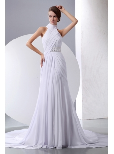 White Halter High Neckline Chiffon Beach Wedding Gown