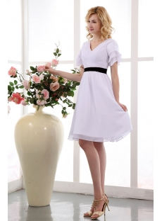 White and Black Babydoll Knee Length Short Bridal Dresses with Short Sleeves