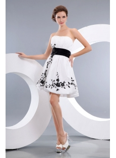 White and Black Short Strapless Prom Party Dress