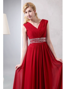 Wine Red Chiffon Long V-neckline Full Figure Evening Dress
