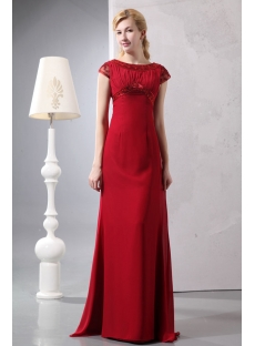 Wine Red Sheath Chiffon Vintage Evening Gowns with Cap Sleeves